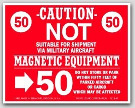 "4x5"" Not Suitable For Shipment Via Military Aircraft Labels 500/rl (Meets military standard.)"