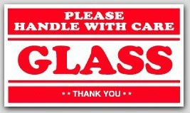 "4x7"" Handle with Care Glass Labels 500/rl"