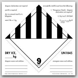 "6x6"" Dry Ice UN1845 Labels 500/rl"