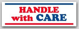 "1x3"" Handle with Care Labels 500/rl"