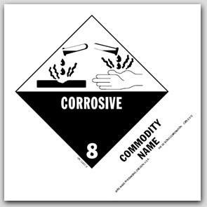"""Corrosive Liquid, Acidic Organic, n.o.s. UN326 5x4"""" Paper Labels 500/rl"""