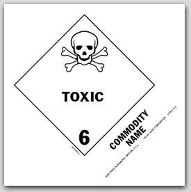 """Toxic, Liquid, Organic n.o.s. UN2810 5x4"""" Paper Labels 500/rl"""