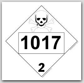 Printed UN1017 Chlorine Polycoated Tagboard Placards 25/pkg