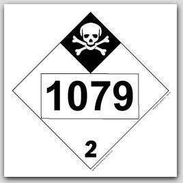 Printed UN1079 Sulfur Dioxide, Liquified Polycoated Tagboard Placards 25/pkg