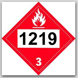 Printed UN1219 Isopropanol Polycoated Tagboard Placards 25/pkg