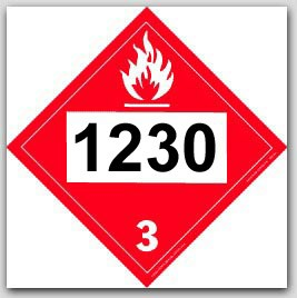 Printed UN1230 Methanol (or Methyl Alcohol) Polycoated Tagboard Placards 25/pkg