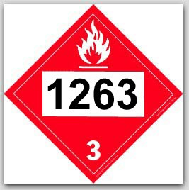 Placards Printed UN1263 Paint Flammable Liquid on self adhesive vinyl. 25/pkg