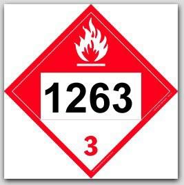 Placards Printed UN1263 Paint Combustible Liquid on self adhesive vinyl. 25/pkg
