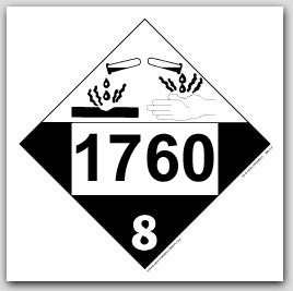 Placards Printed UN1760 Compo, Cleaning Liquid, Corrosive Liquids, n.o.s. on self adhesive vinyl. 25