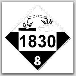 Printed UN1830 Sulfuric Acid Polycoated Tagboard Placards 25/pkg