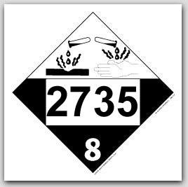 Placards Printed UN2735 Alkylamines, n.o.s. or Polyalkyamines, n.o.s. self adhesive vinyl placards 2