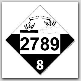 Printed UN2789 Acetic Acid, Glacial Polycoated Tagboard Placards 25/pkg