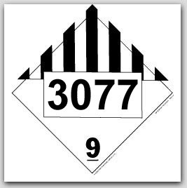 Printed UN3077 Environmentally Hazardous Substances, Solid, n.o.s. Polycoated Tagboard Placards 25/p