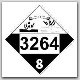 Printed UN3264 Corrosive Liquid, Basic, Inorganic, n.o.s. Polycoated Tagboard Placards 25/pkg