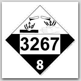 Placards Printed UN3267 Corrosive Liquid, Basic, Organic, n.o.s.on self adhesive vinyl. 25/pkg