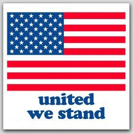 "4x4"" USA United We Stand Labels 500/rl"