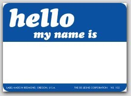 """3-1/2x2-1/2"""" Hello My Name Is Labels 500/rl"""