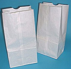 #8 White Regular Duty Grocery Bags 6-1/8x4x12-7/16 - 500/Bale
