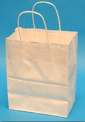 8x4-3/4x10-1/2 White Paper Shopping Bags - 250/cs