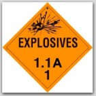 Class 1.1a Explosives Self Adhesive Vinyl Placards 25/pkg