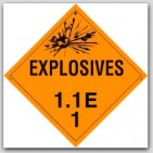 Class 1.1e Explosives Self Adhesive Vinyl Placards 25/pkg