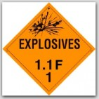Class 1.1f Explosives Self Adhesive Vinyl Placards 25/pkg