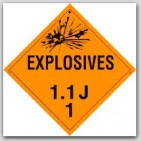 Class 1.1j Explosives Self Adhesive Vinyl Placards 25/pkg