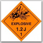 Class 1.2j Explosives Polycoated Tagboard Placards 25/pkg