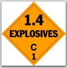 Class 1.4c Explosives Self Adhesive Vinyl Placards 25/pkg