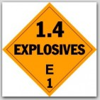 Class 1.4e Explosives Self Adhesive Vinyl Placards 25/pkg