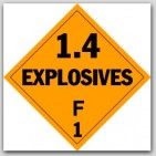 Class 1.4f Explosives Self Adhesive Vinyl Placards 25/pkg