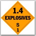 Class 1.4s Explosives Self Adhesive Vinyl Placards 25/pkg