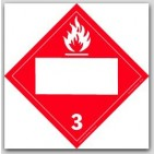 Flammable Liquids Class 3 Polycoated Tagboard Placards 25/pkg