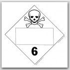 Toxic Poisonous Class 6 Self Adhesive Vinyl Placards 25/pkg