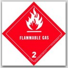 "4x4"" Class 2 Flammable Gas Paper Labels 500/rl"