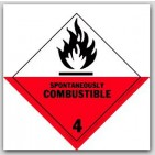 "4x4"" Class 4 Spontaneously Combustible Paper Labels 500/rl"