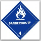 "4x4"" Class 4 Dangerous When Wet Vinyl Labels 500/rl"