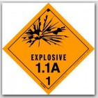 "4x4"" Class 1.1a Explosives Vinyl Labels 500/rl"