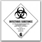 "4x4"" Class 6 Infectous Substance Vinyl Labels 500/rl"