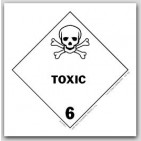 "4x4"" Class 6 Toxic Vinyl Labels 500/rl"