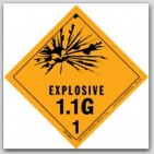 "4x4"" Class 1.1g Explosives Paper Labels 500/rl"