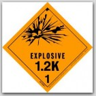 "4x4"" Class 1.2k Explosives Paper Labels 500/rl"