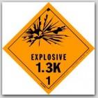 "4x4"" Class 1.3k Explosives Paper Labels 500/rl"