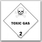 "4x4"" Class 2 Toxic Gas Paper Labels 500/rl"