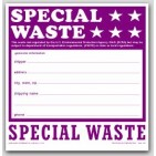 "6x6"" Special Waste Vinyl Labels 100/pkg"