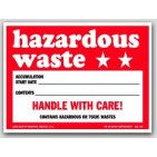 "6x6"" Hazardous Waste Vinyl Labels 100/pkg"