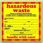 "6x6"" Hazardous Waste Liquid Vinyl Labels 100/pkg"