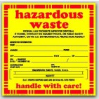 "6x6"" Hazardous Waste Solid Vinyl Labels 100/pkg"