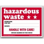"4x6"" Hazardous Waste Paper Labels 100/pkg"
