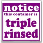 "6x6"" Notice Container Triple Rinsed Vinyl Labels 100/pkg"